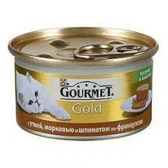 Gourmet Gold (Гурмет Голд ) корм консервы для кошек кусочки в паштете с уткой, морковью и шпинатом по французски