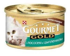 Gourmet Gold (Гурмет Голд ) корм консервы для кошек кусочки в соусе с лососем и цыпленком