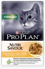 Purina Pro Plan Nutrisavour Sterilised Консервы пауч для стерилизованных кастрированных кошек кусочки курицы в подливе