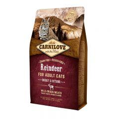 Carnilove Cat Raindeer Energy & Outdoor сухой беззерновой корм с мясом северного оленя для взрослых активных кошек