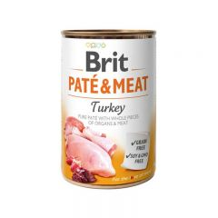 Brit Pate & Meat Turkey Консервы Брит кусочки индейки в паштете для собак
