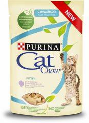 Cat Chow Kitten влажный корм консервы с индейкой и цуккини в желе для котят пауч