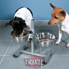 Стойка с двумя хромированными мисками на подставке Trixie TX-2492