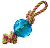 Petstages mini ORKA Ball with Rope - литой мячик с рельефной поверхностью pt222