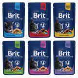 Brit Premium Cat (пауч) консерва кусочки в соусе для кошек: курица, курица и индейка, курица для котят, лосось и форель, говядина и горошек, треска