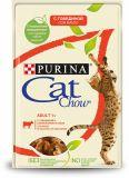 Cat Chow Adult влажный корм консервы для взрослых кошек с говядиной и баклажанами в желе пауч