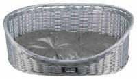 Корзина лежак плетеный с матрасом для собак и кошек Трикси (серый) 28081, 28082