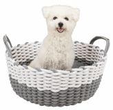 Корзина лежак плетеный с подушкой для собак и кошек Трикси (серый) 38403, 38404
