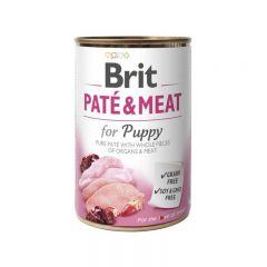 Brit Pate & Meat Puppy с курицей Консервы кусочки в паштете с курицей для щенков